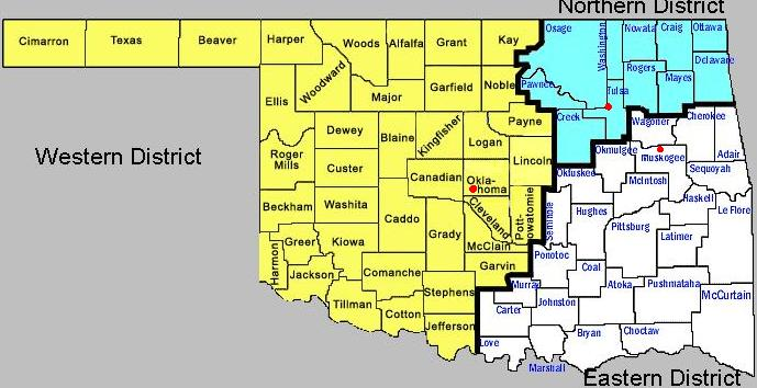 District Map Eastern District Of Oklahoma - Oklahoma-on-the-us-map
